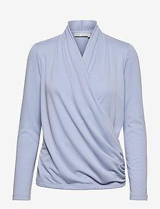 AlanoIW Wrap Blouse - blouses met lange mouwen - blue serenity