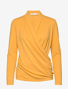 AlanoIW Wrap Blouse - långärmade blusar - golden yellow