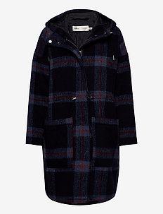HanaleeIW Coat - manteaux en laine - checked blue wool