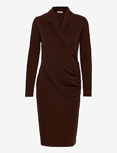 CatjaIW Dress - wrap dresses - coffee brown