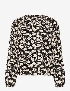 HenryIW Blouse - langermede bluser - black flower contur