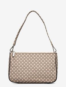 IW Travel Shoulder Bag - schoudertassen - iw logo beige/black