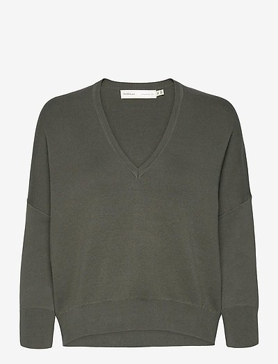 BirdyIW V-neck Pullover - sweaters - beetle green