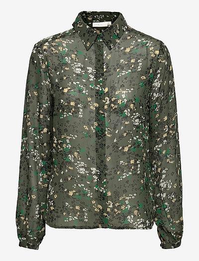 BarbelIW Shirt - langermede bluser - green olive dried flowers