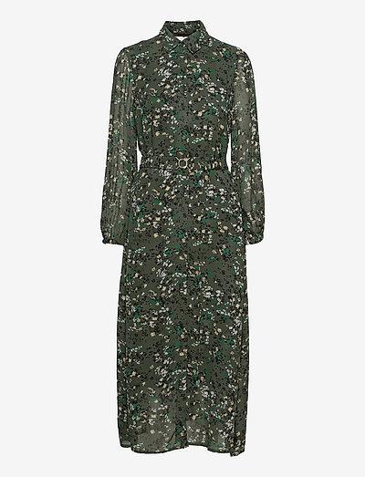 BarbelIW Long Dress - hverdagskjoler - green olive dried flowers