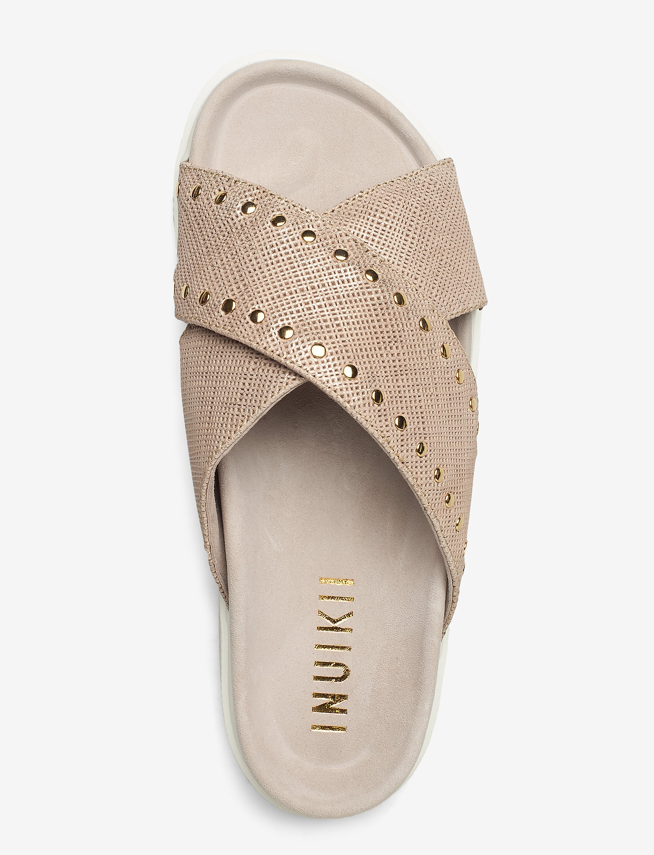 Inuikii Slipper Crossed Studs (Beige) - Inuikii