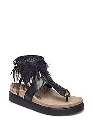 Sandal Ankle feathers - BLACK