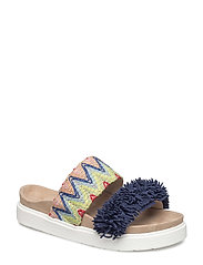 Slipper Raffia colored - BLUE