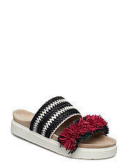Slipper raffia striped - PINK/GREEN