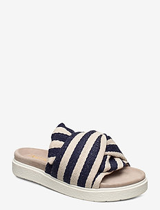 Slipper knot striped - flade sandaler - blue