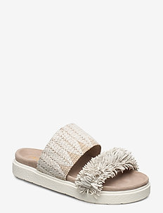 Slipper raffia fringes - flade sandaler - white