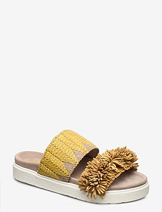 Slipper raffia fringes - flade sandaler - yellow