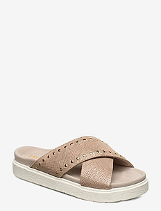 INUIKII Slipper Crossed Studs - flade sandaler - beige