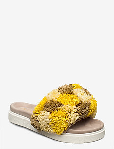 INUIKII Slipper Grass Band - flade sandaler - yellow beige