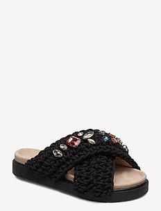Slipper woven stones - black