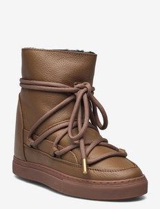 Full Leather Wedge - flate ankelstøvletter - caramel