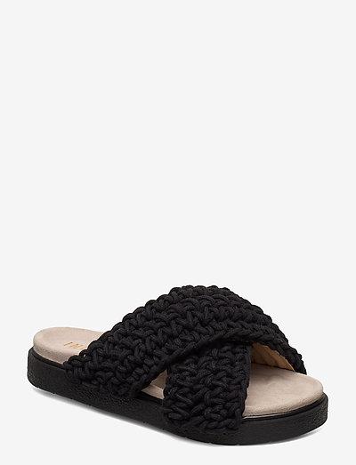 Slipper Woven - flat sandals - black