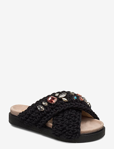 Slipper woven stones - schoenen - black