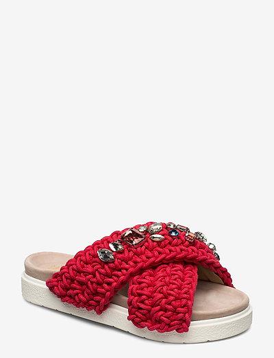 Slipper woven stones - schuhe - red