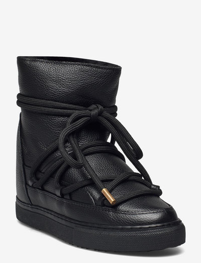 Full Leather Wedge - flat ankle boots - black