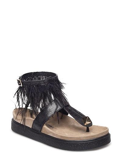 Sandal Ankle feathers - BLACK