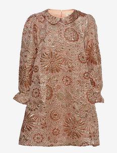 Beata Dress - festklänningar - bronze/brocade