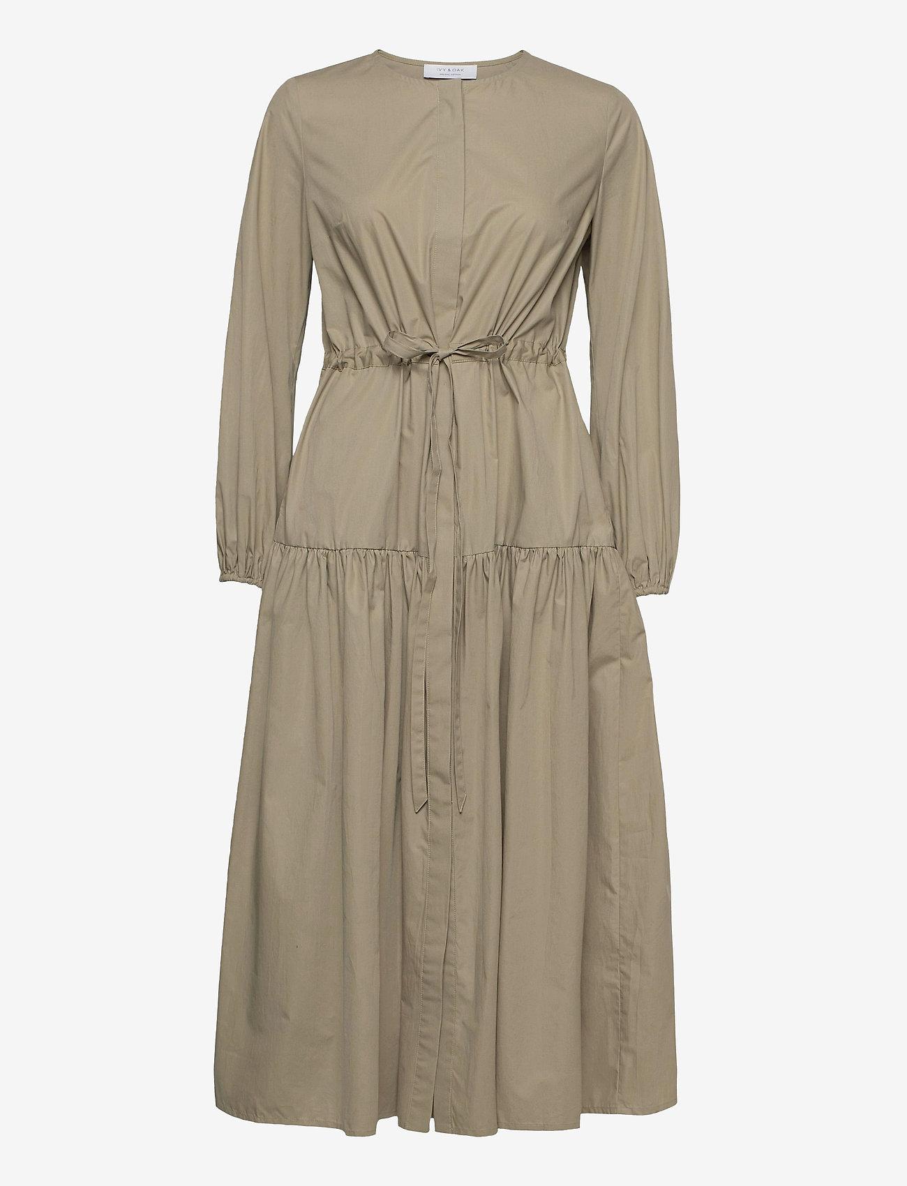 Ivy & Oak - CORDED SHIRT DRESS MIDI LENGHT - summer dresses - sage green - 0