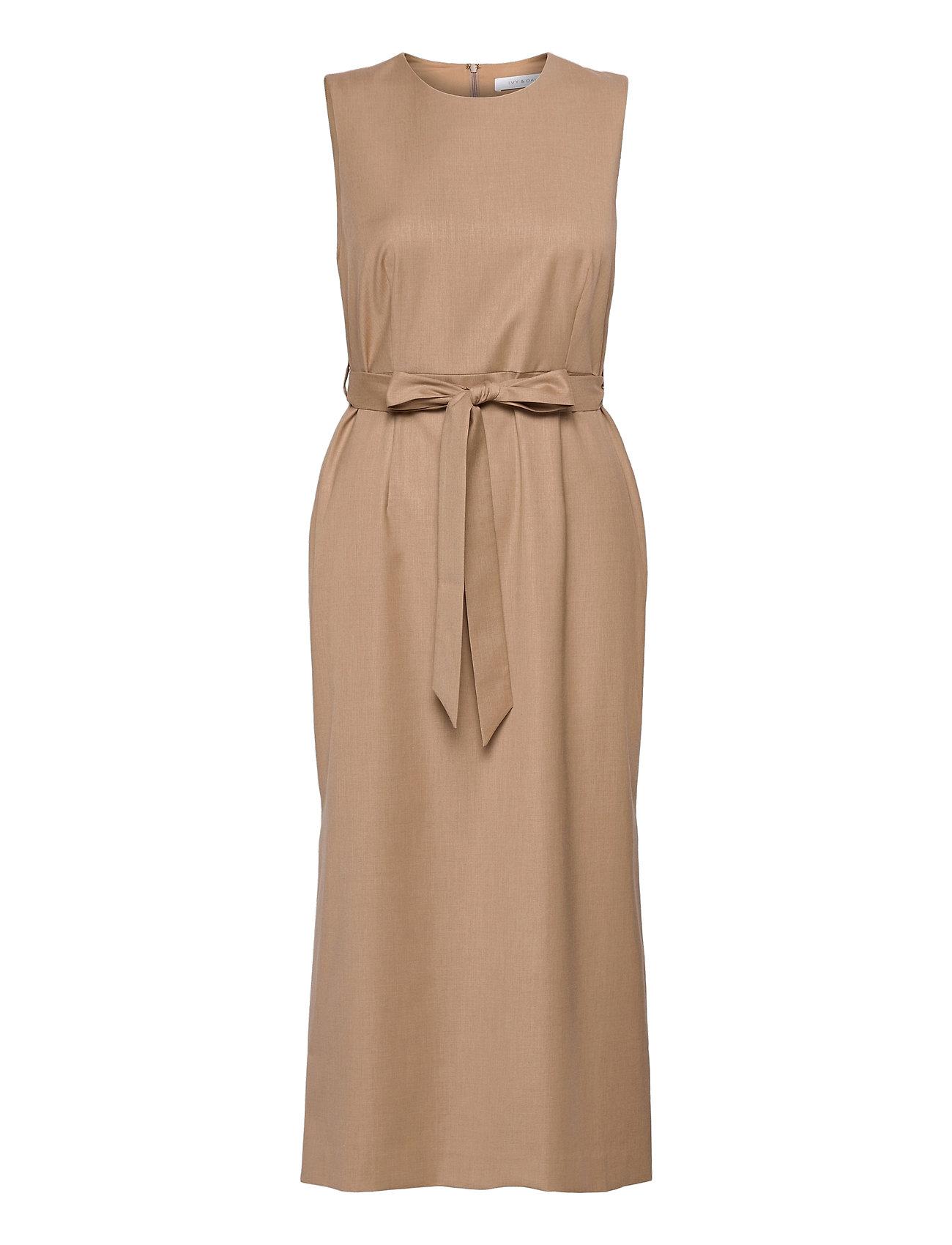 Image of Belted Dress Midi Length Knælang Kjole Beige Ivy & Oak (3468424601)