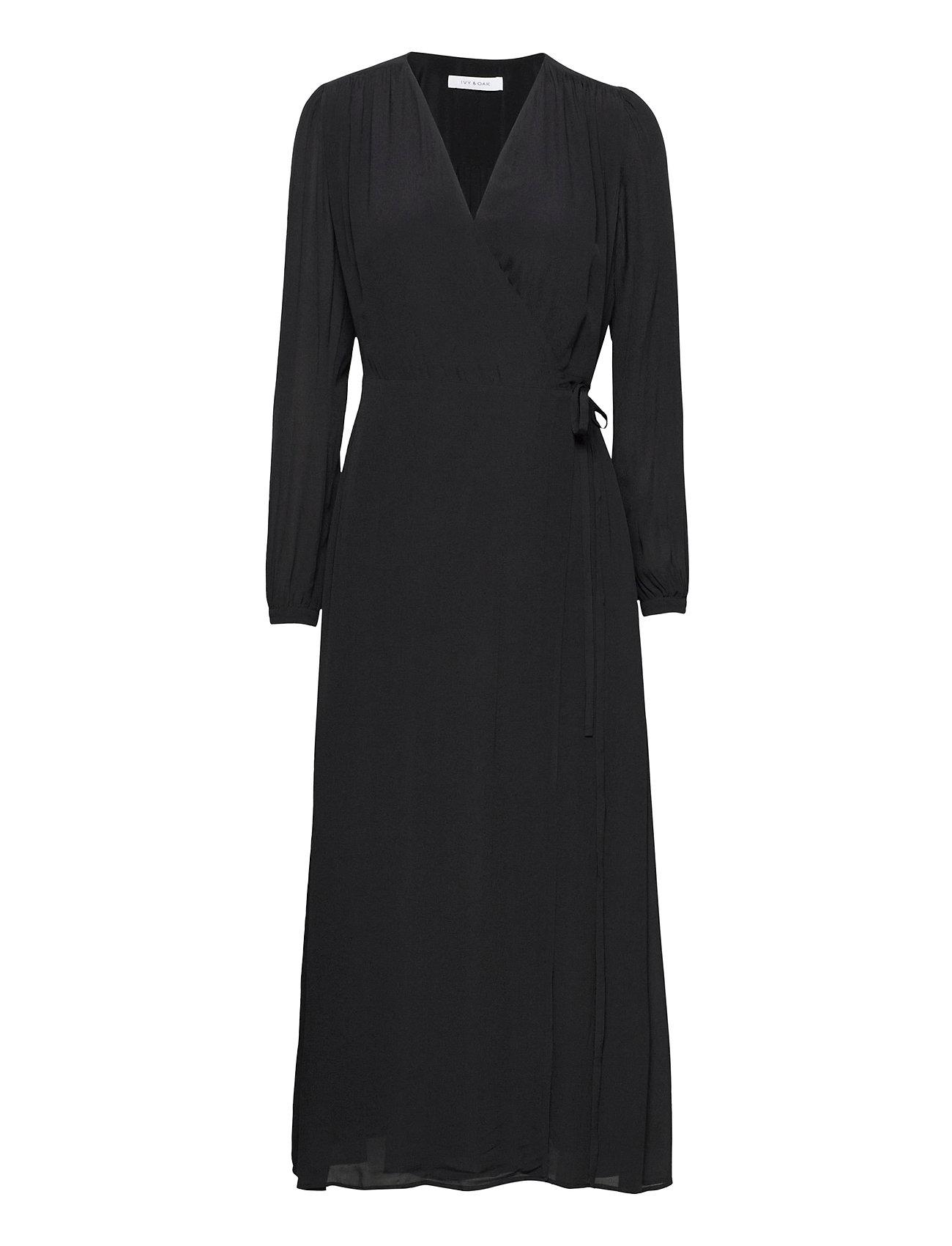 Image of Wrap Dress Ankle Length Knælang Kjole Sort Ivy & Oak (3475360277)