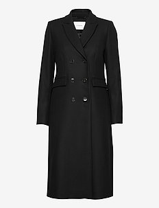 DOUBLE BREASTED COAT - trenchcoats - black