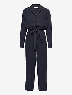 Lapel Collar Jumpsuit Ankle Length - jumpsuits - navy blue