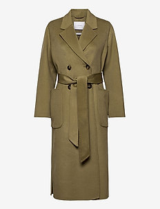 DOUBLE BREASTED COAT - ullkappor - sage green