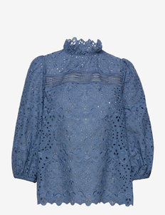 EMBROIDERY BLOUSE WITH PUFFY SLEEVES - långärmade blusar - smoked saphire