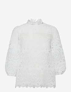 EMBROIDERY BLOUSE WITH PUFFY SLEEVES - långärmade blusar - snow white