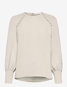 BUTTONED BLOUSE - long sleeved blouses - pale green