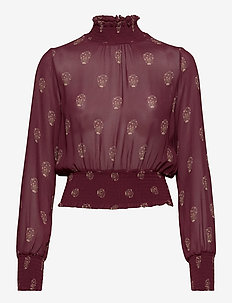 SMOKING BLOUSE - langærmede bluser - aop - bordeaux