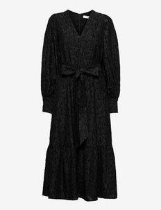 PUFFY SLEEVE DRESS MIDILENGTH - summer dresses - black