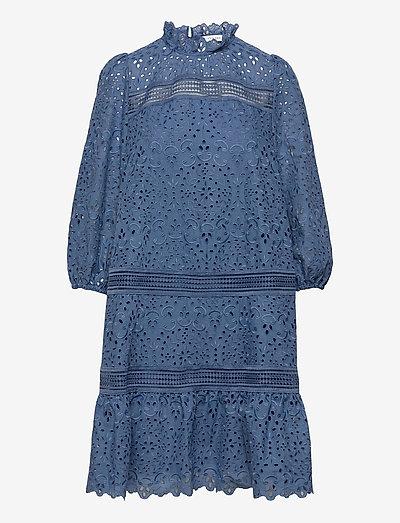 EMBROIDERY DRESS MIDI - midi dresses - smoked saphire