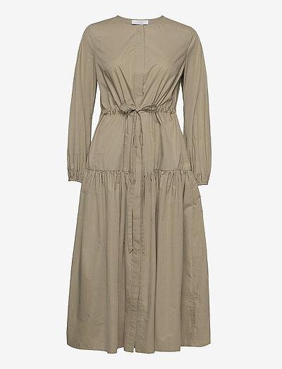 CORDED SHIRT DRESS MIDI LENGHT - alledaagse jurken - sage green