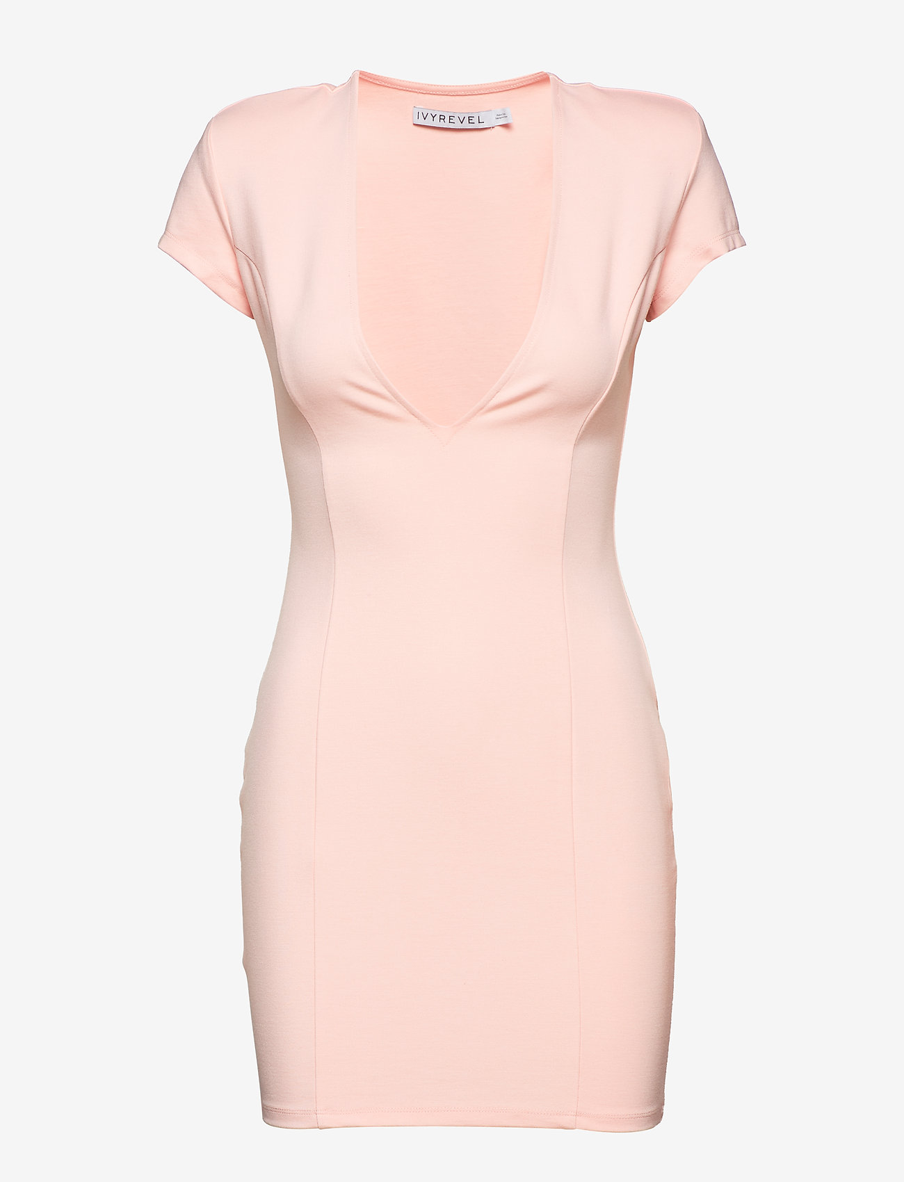Ivyrevel - CAPPED SLEEVE PLUNGE MINI DRESS - short dresses - light pink