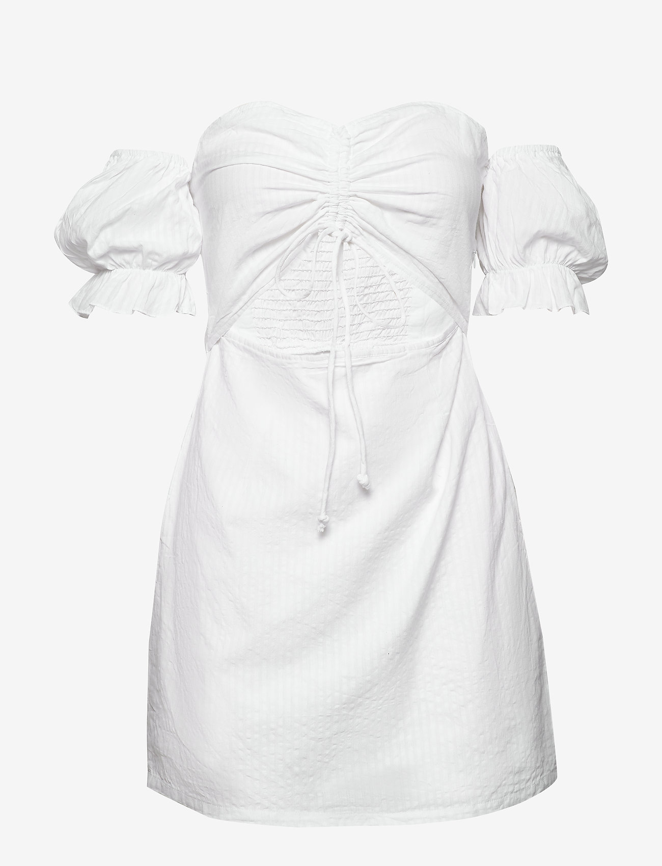 Drawstring Puff Sleeve Dress (Cold White) - Ivyrevel PcWcAD