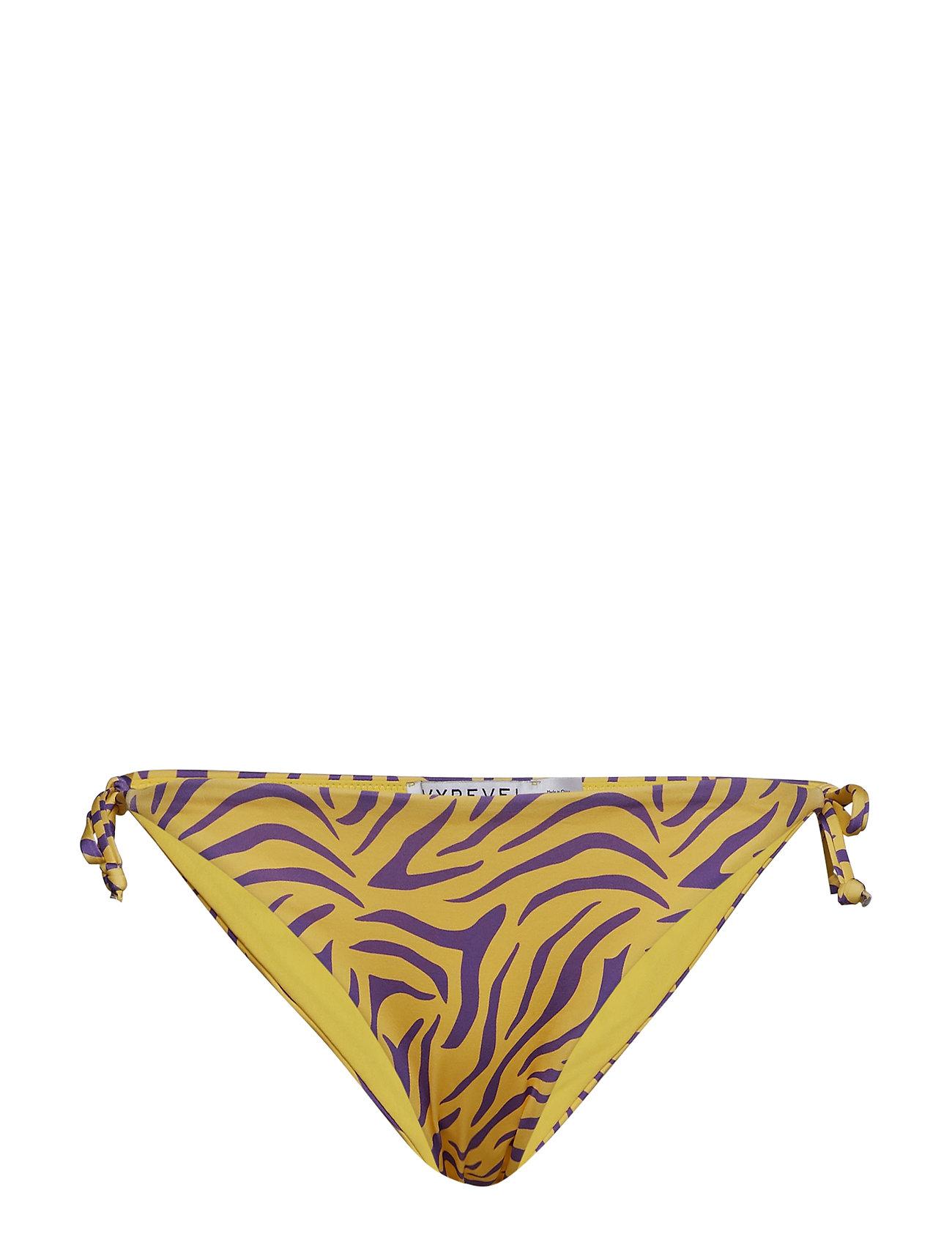 Ivyrevel Tie Side Bikini Bottom - YELLOW/PURPLE ZEBRA PRINT