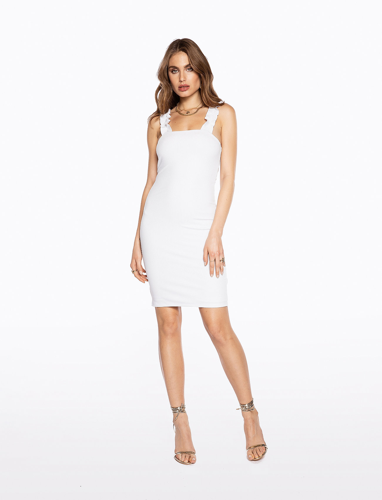 Ivyrevel - FRILL SHOULDER RIB DRESS - lyhyet mekot - cold white