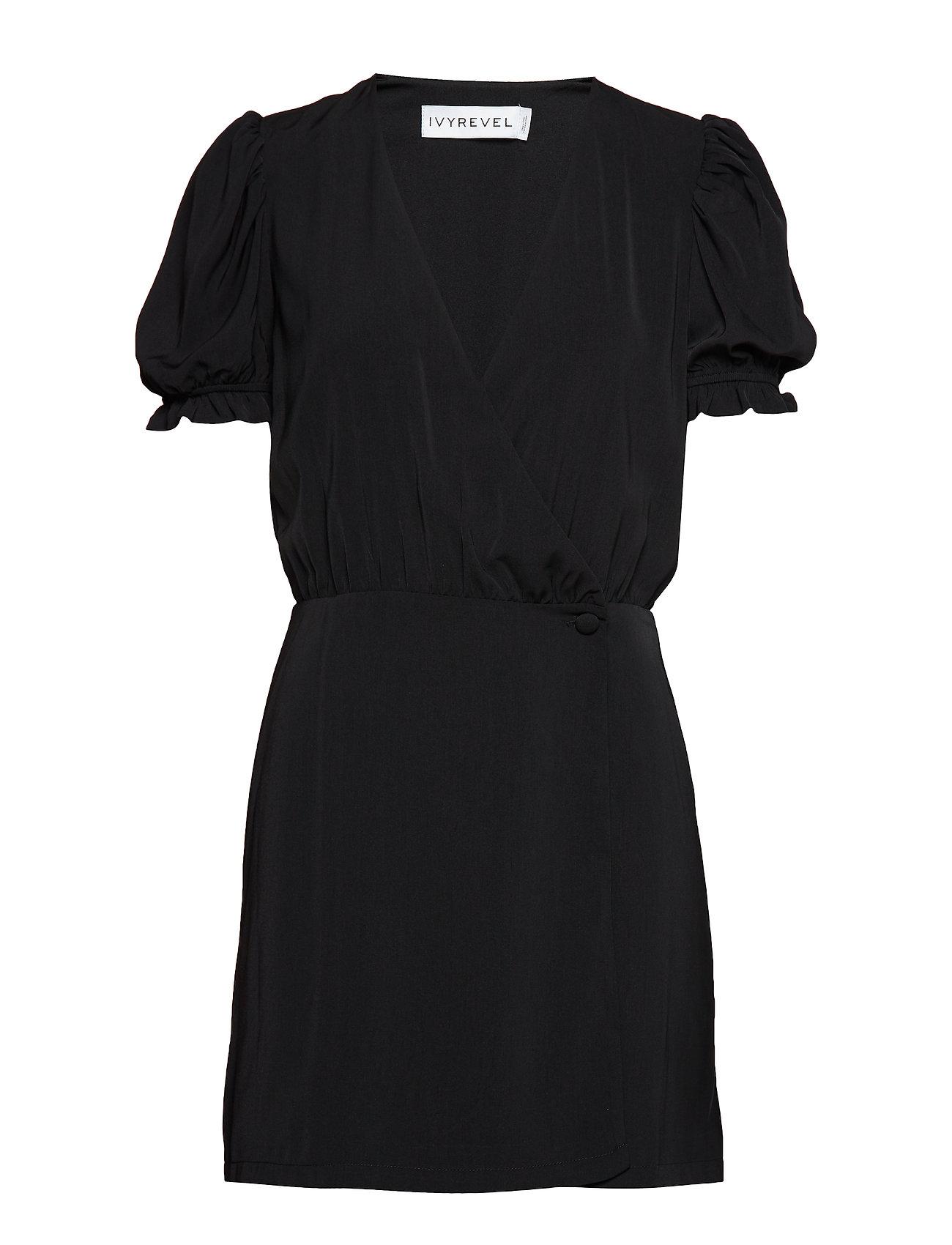 Ivyrevel Puff Sleeve Overlap Dress - BLACK