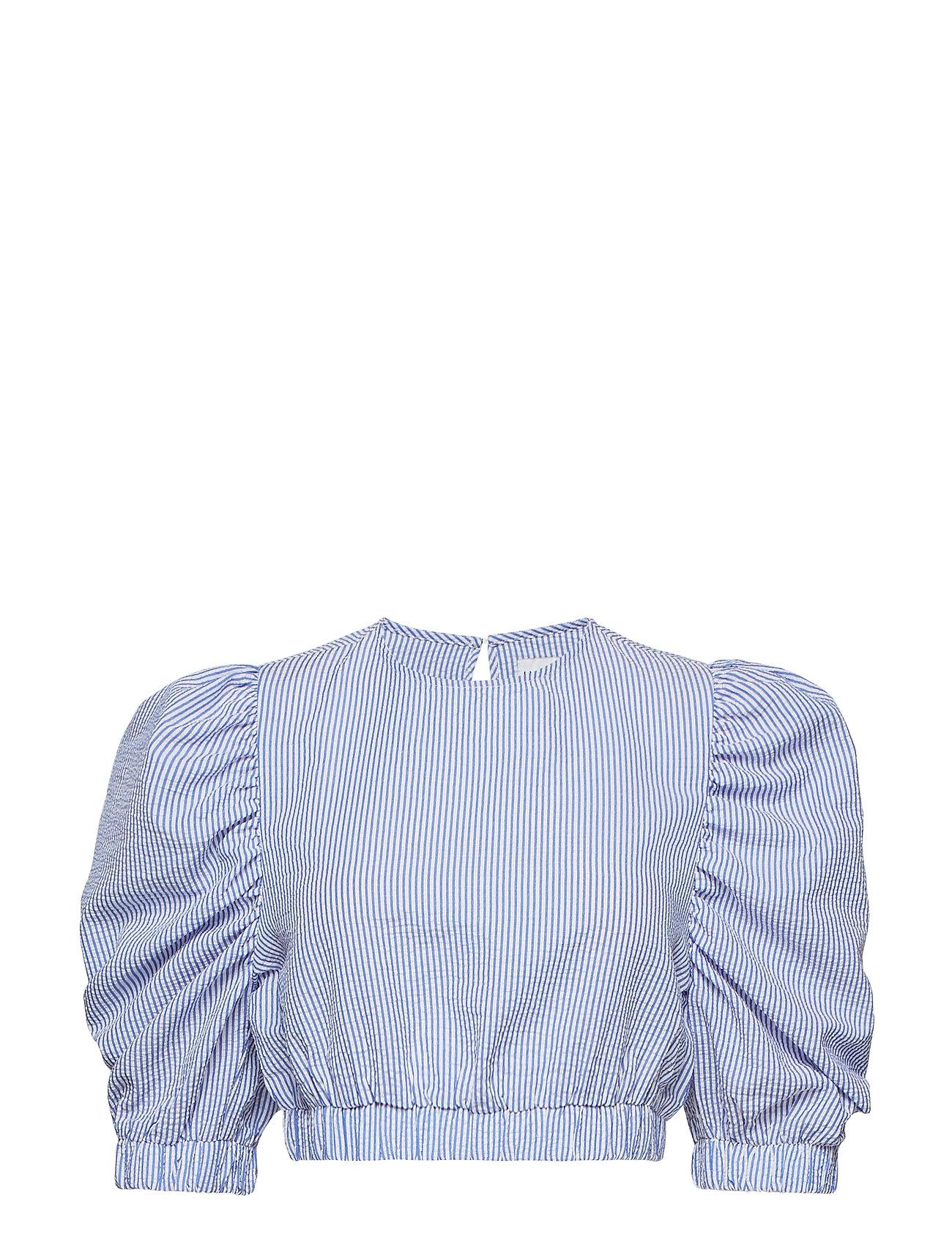 Ivyrevel Puff Sleeve Crop Top - BLUE MIX