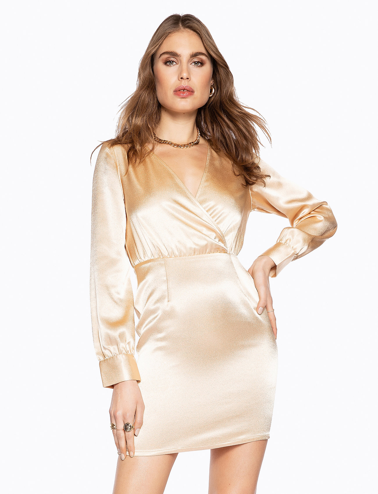 Ivyrevel - V NECK DRAPY DRESS - lyhyet mekot - gold