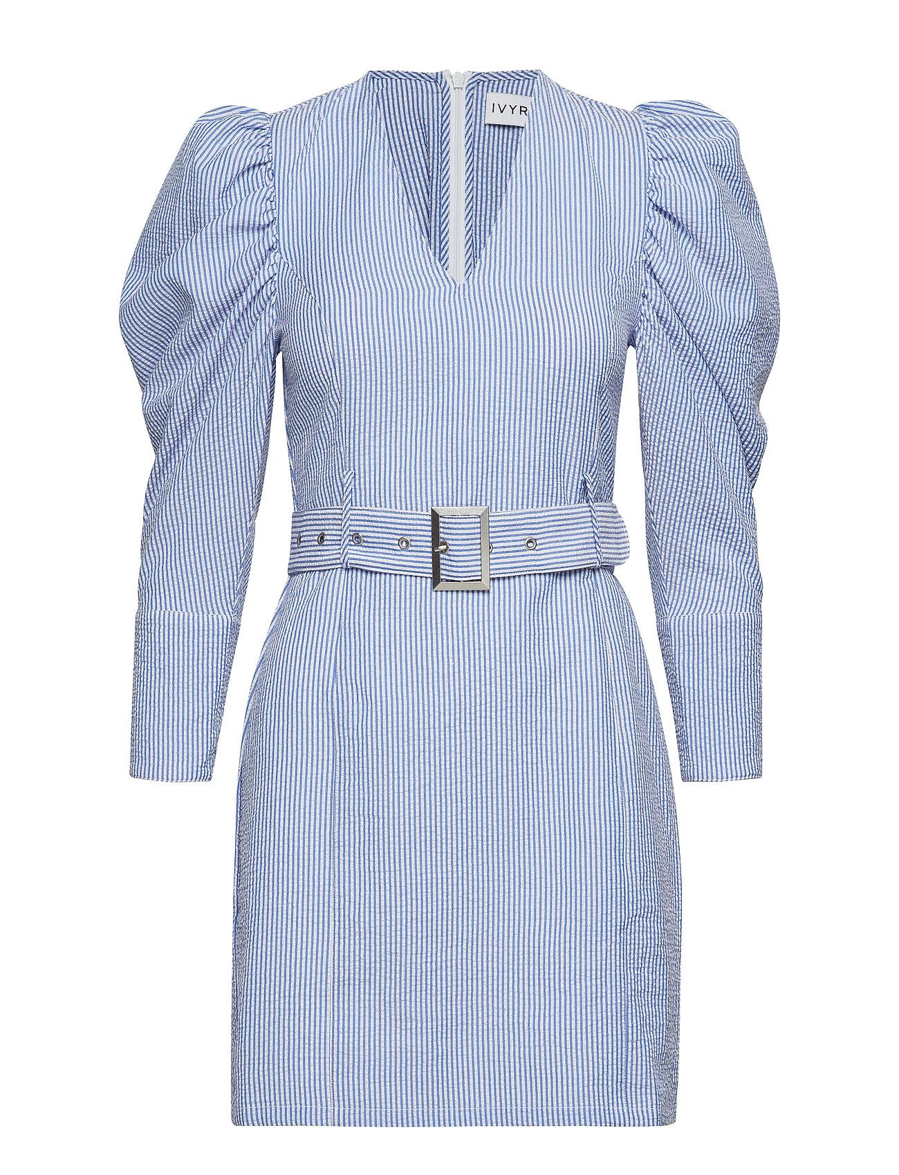 Ivyrevel Belted V Neck Dress - BLUE MIX