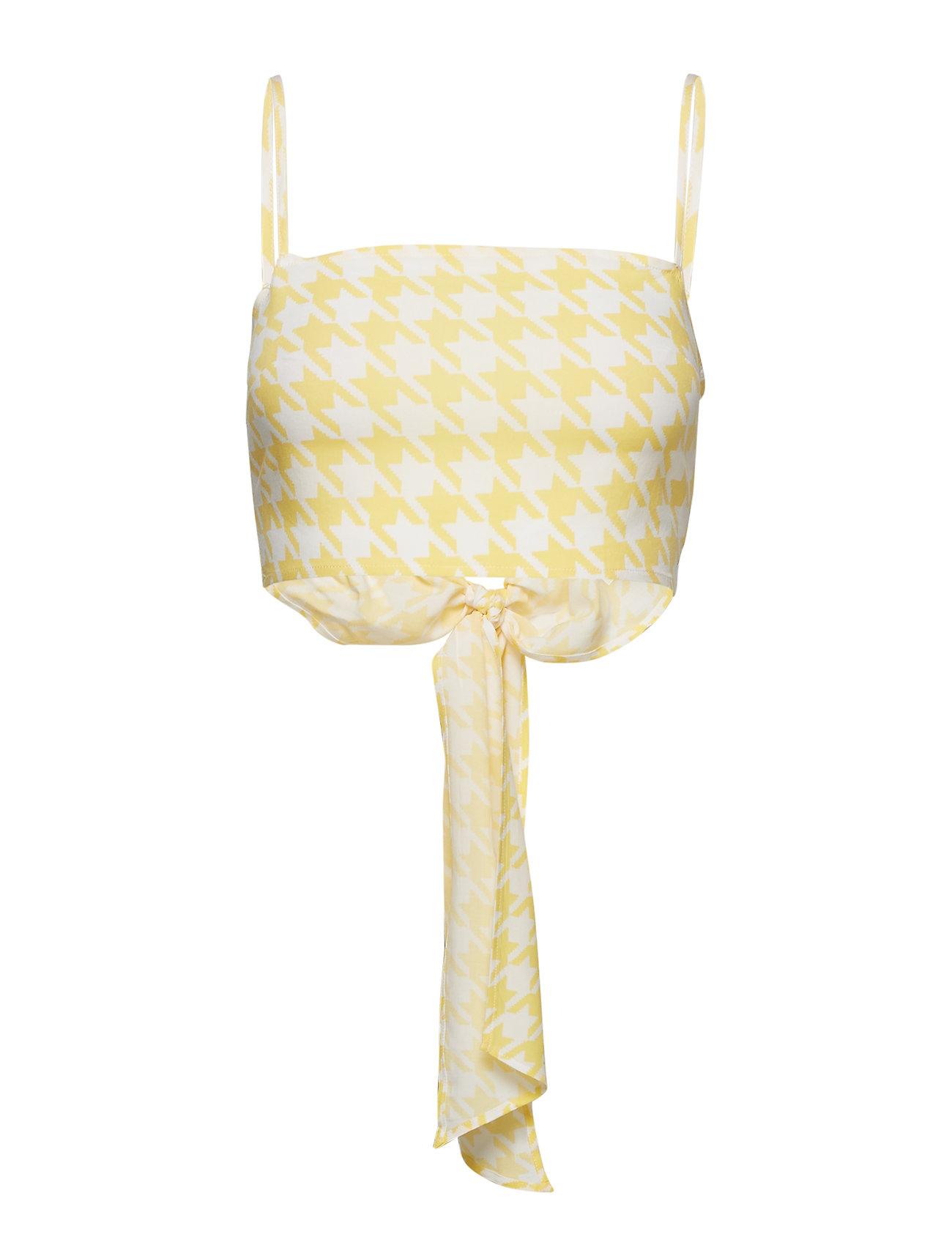 Ivyrevel Bow Cami Crop Top - YELLOW PEPITA PRINT