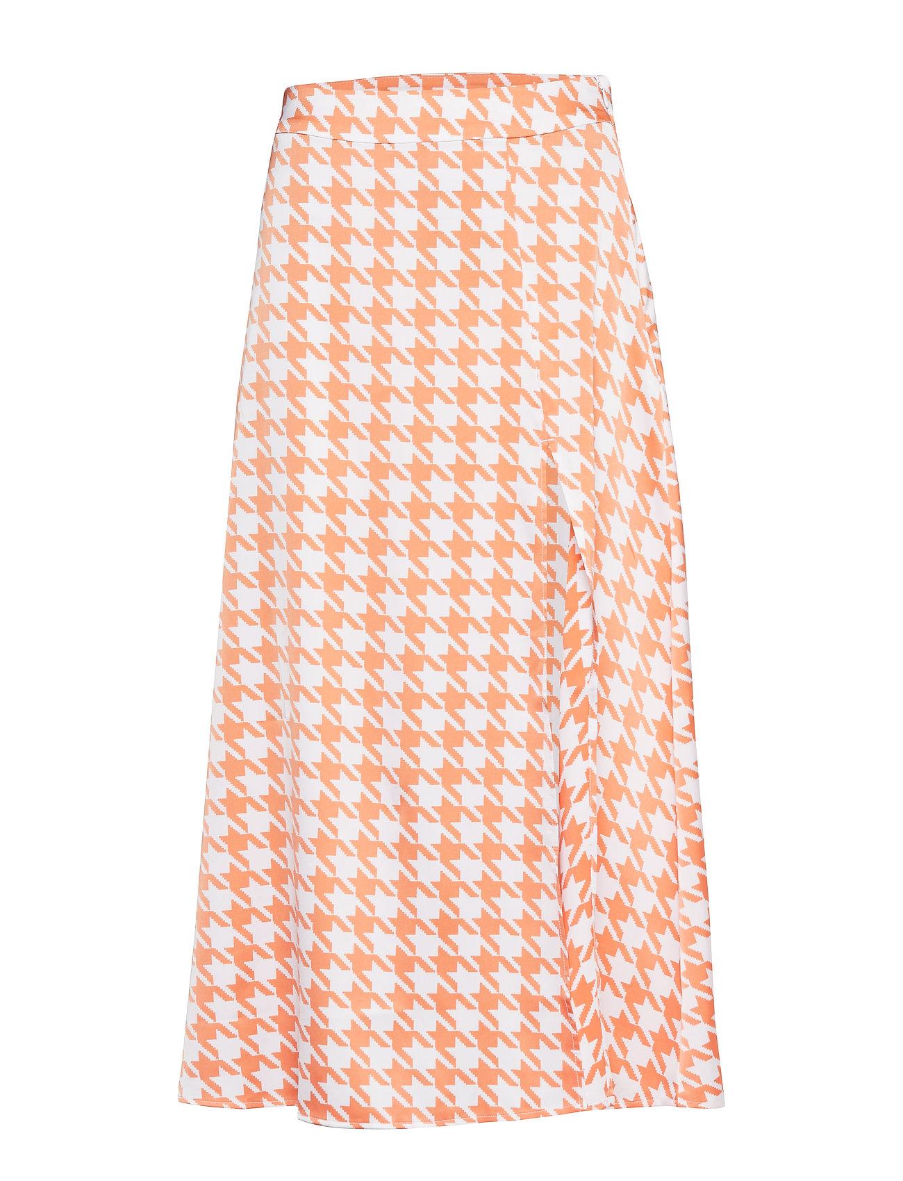 Ivyrevel Split Skirt - ORANGE PEPITA PRINT