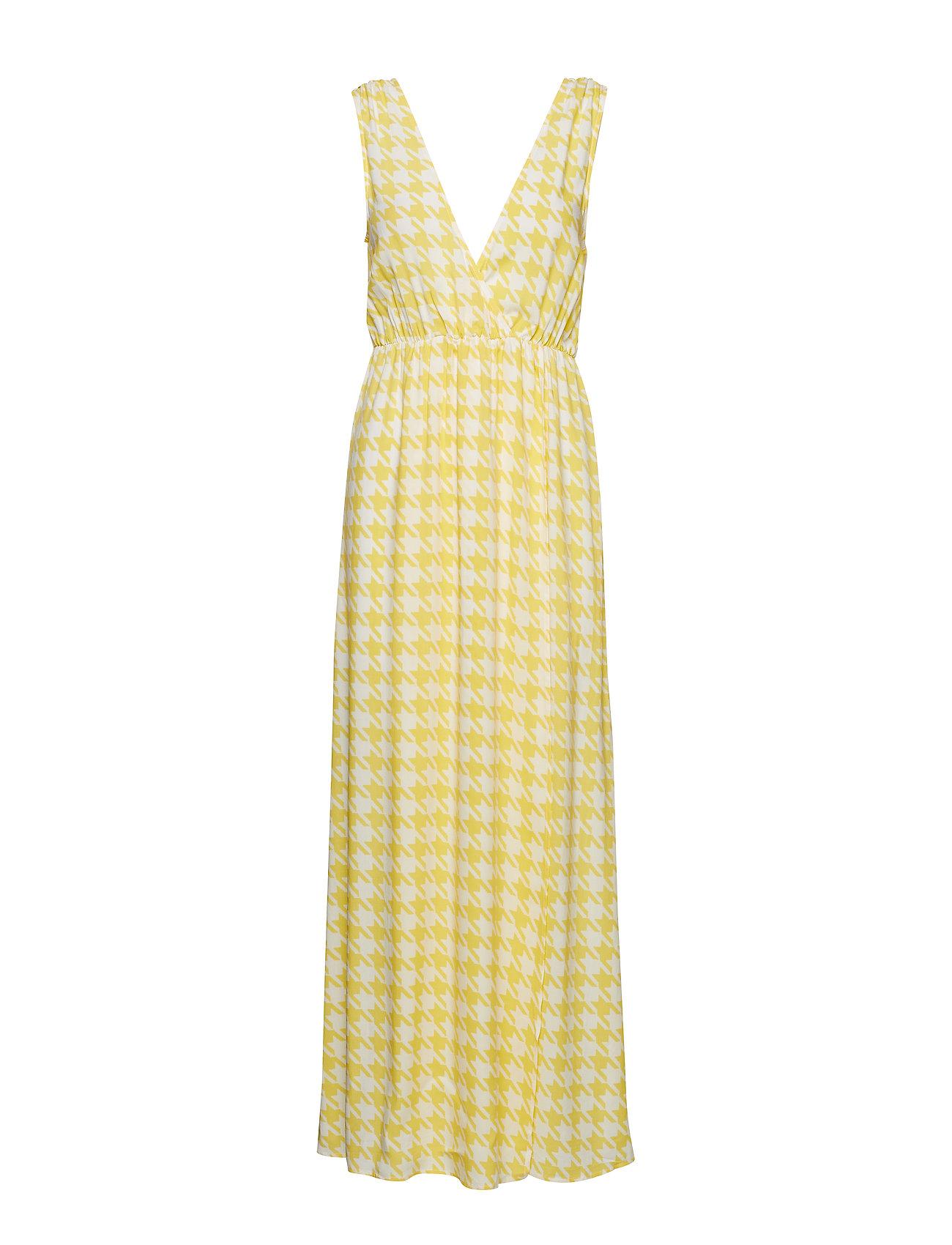 Ivyrevel Maxi Dress With Slit - YELLOW PEPITA PRINT